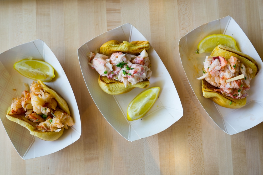 Boothbay Lobster Company in Stamford, CT has three lobster rolls on the menu- hot, mayo and spicy
