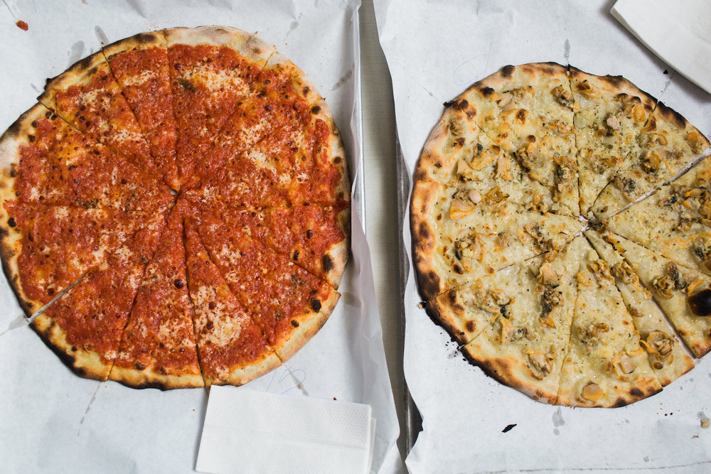 Original Tomato Pie and White Clam Pizza at Frank Pepe Pizzeria