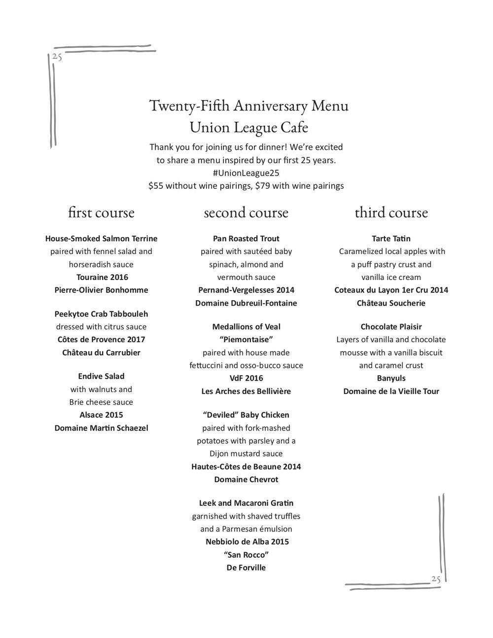Union League Cafe 25th Anniversary Menu
