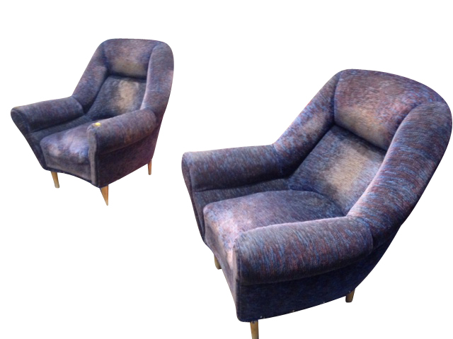 Pair Of Purple Armchairs, Italy, 1960s