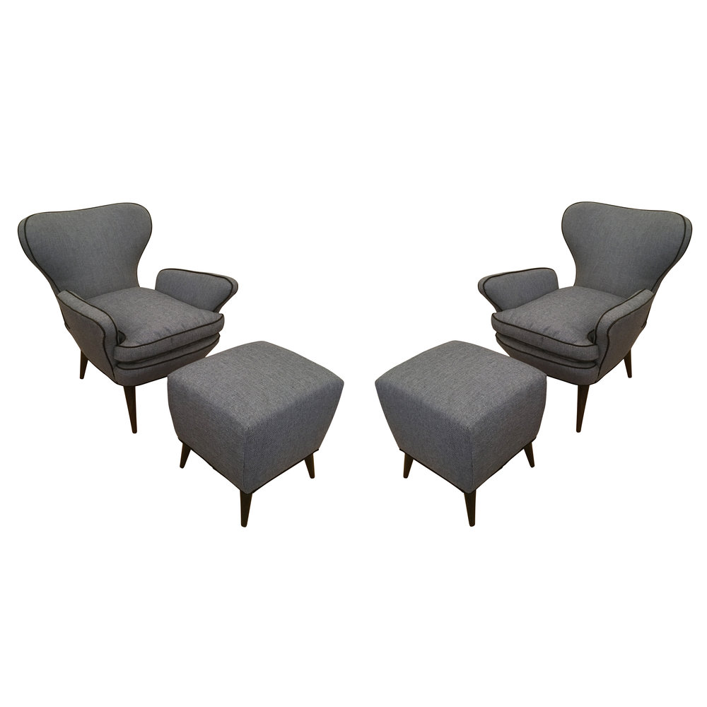 Gentil Pair Of Mid Century Armchairs With Foot Stools