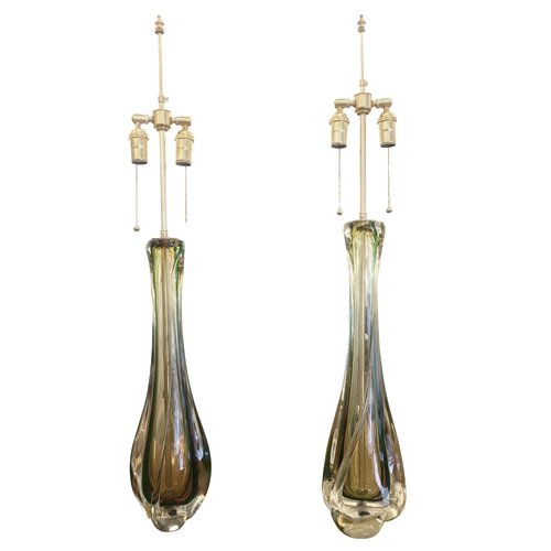 Amber and green glass table lamps by val st lambert