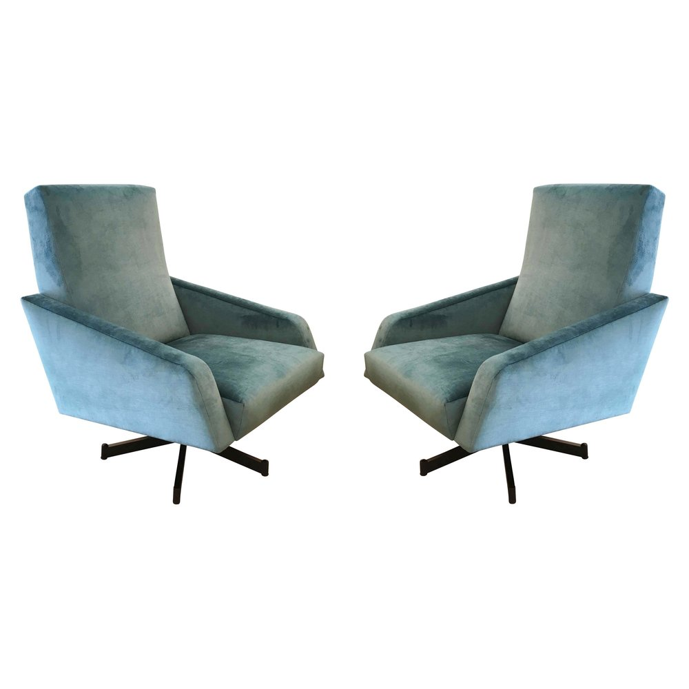 Pair Of Italian Mid Century Swivel Lounge Chairs