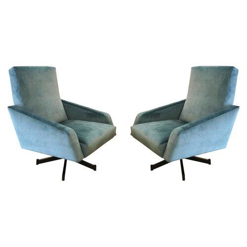 Very Pair of Italian Mid-Century Swivel Lounge Chairs — Gaspare Asaro  MF74