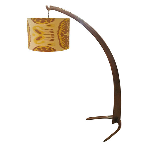 Italian walnut tusk floor lamp 1940s