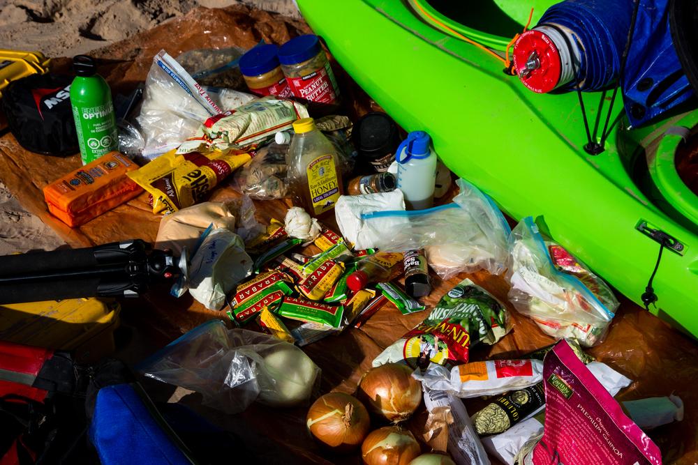 Lots of food waiting for the resupply at Phantom Ranch. Grand Canyon, AZ