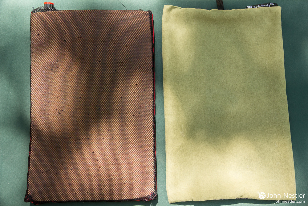 The internal air bladder and memory foam easily detach from the microsuede cover to allow for easy washing.