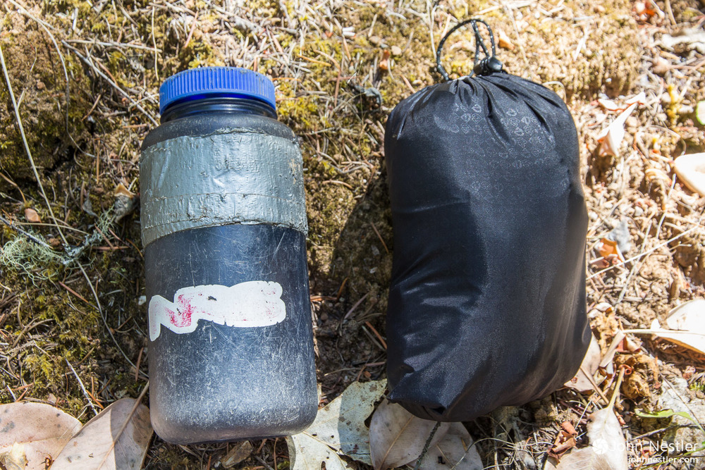 The Nemo Fillo easily packs into the size of a Nalgene with the internal stuff sack.