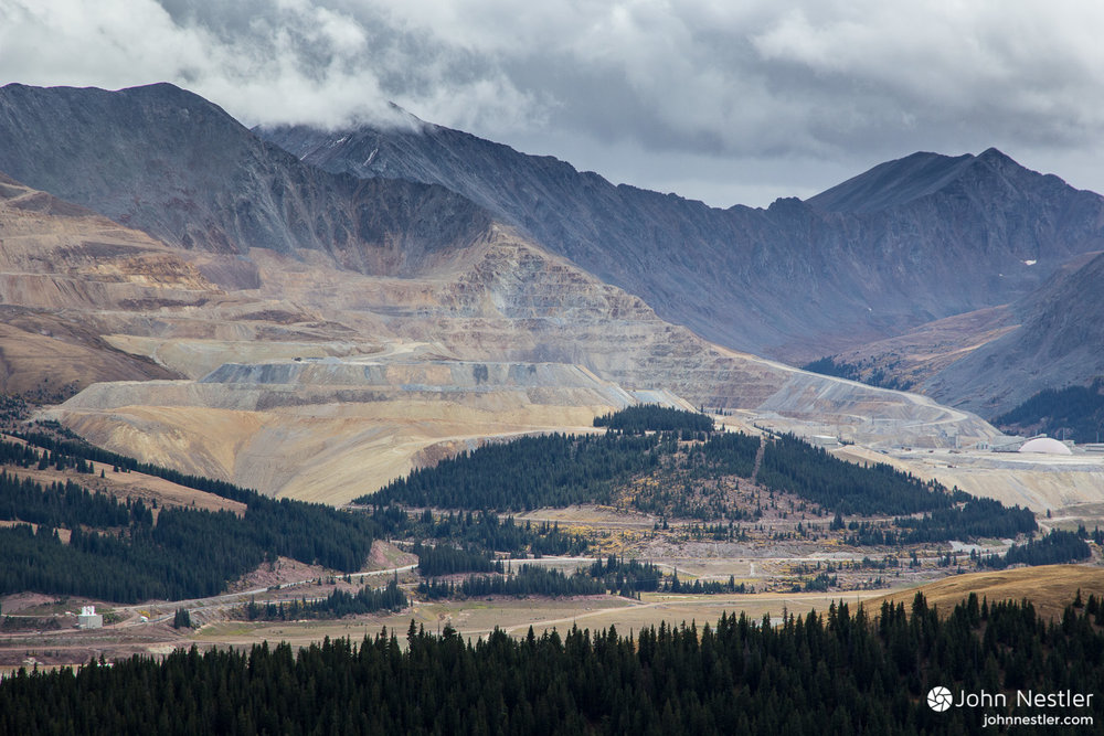 The stark effects of mining are shown here in Segment 8. Elk Ridge provided this view of the Climax Mine shortly before rain set in as I made my way towards Tennessee Pass and Leadville.