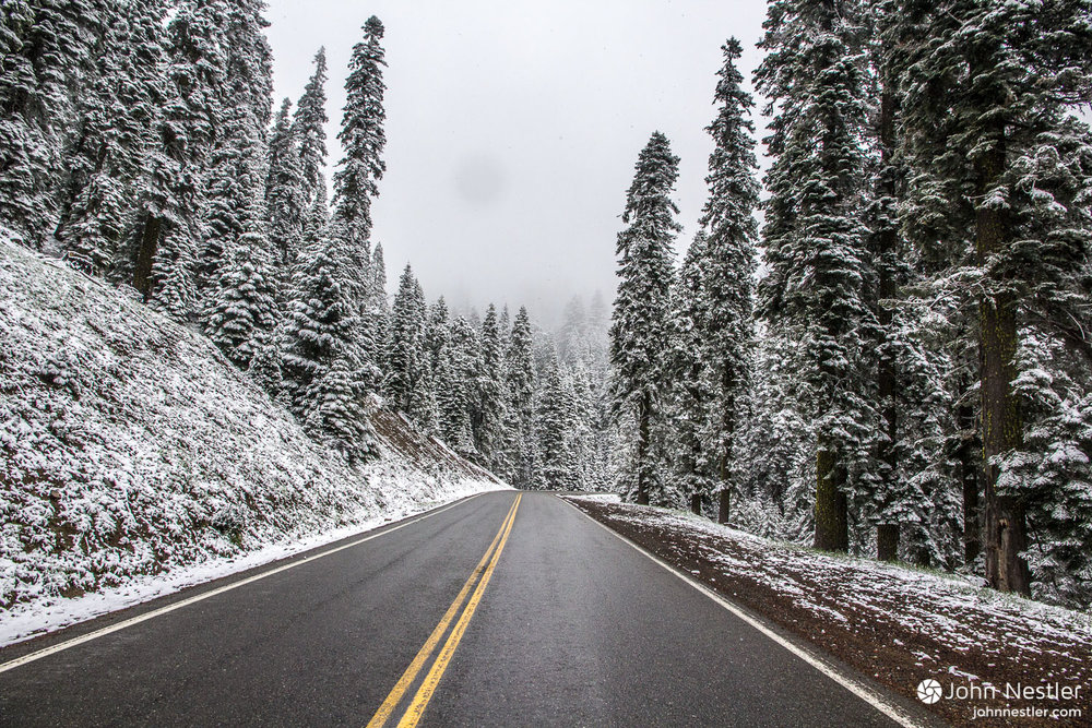 It's June, but summer isn't here yet! Driving through snow on a pass heading towards Callahan from the Cal Salmon River.