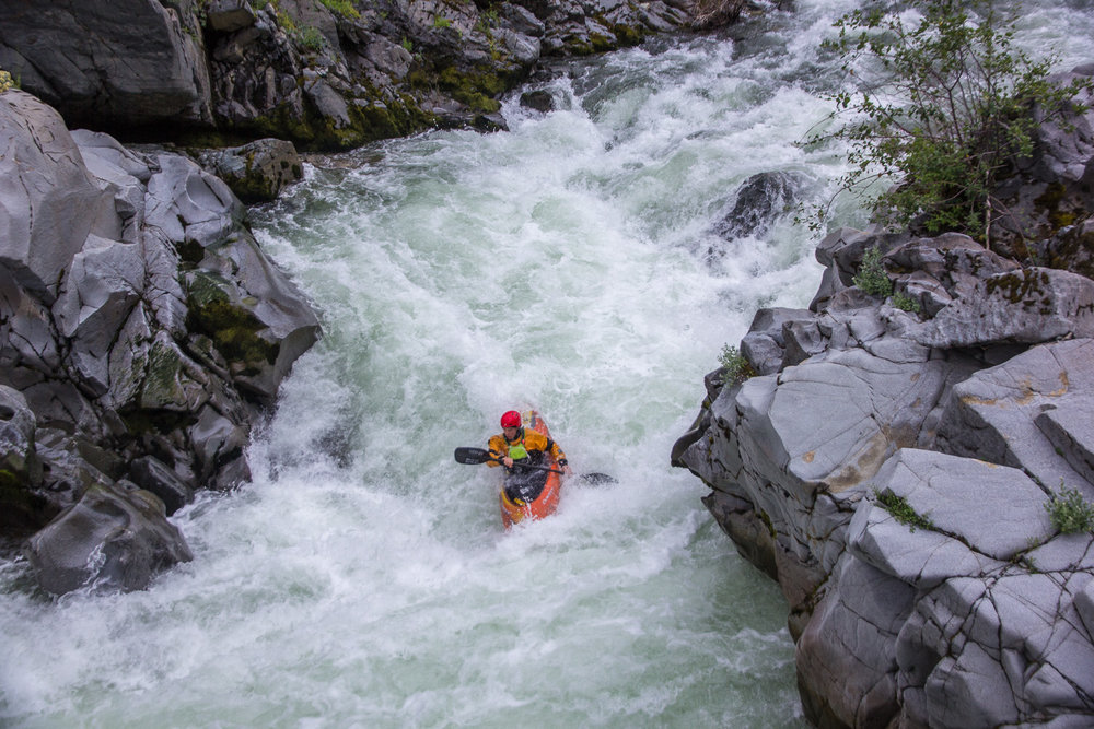 Skirting a hole and looking towards the finish of the rapid. Mini gorges made for some fun, tight rapids. PC: Jordan Sherman