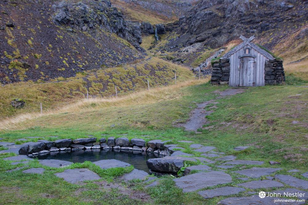 "The Guðrúnarlaug ""Saga"" hotpot in Western Iceland."