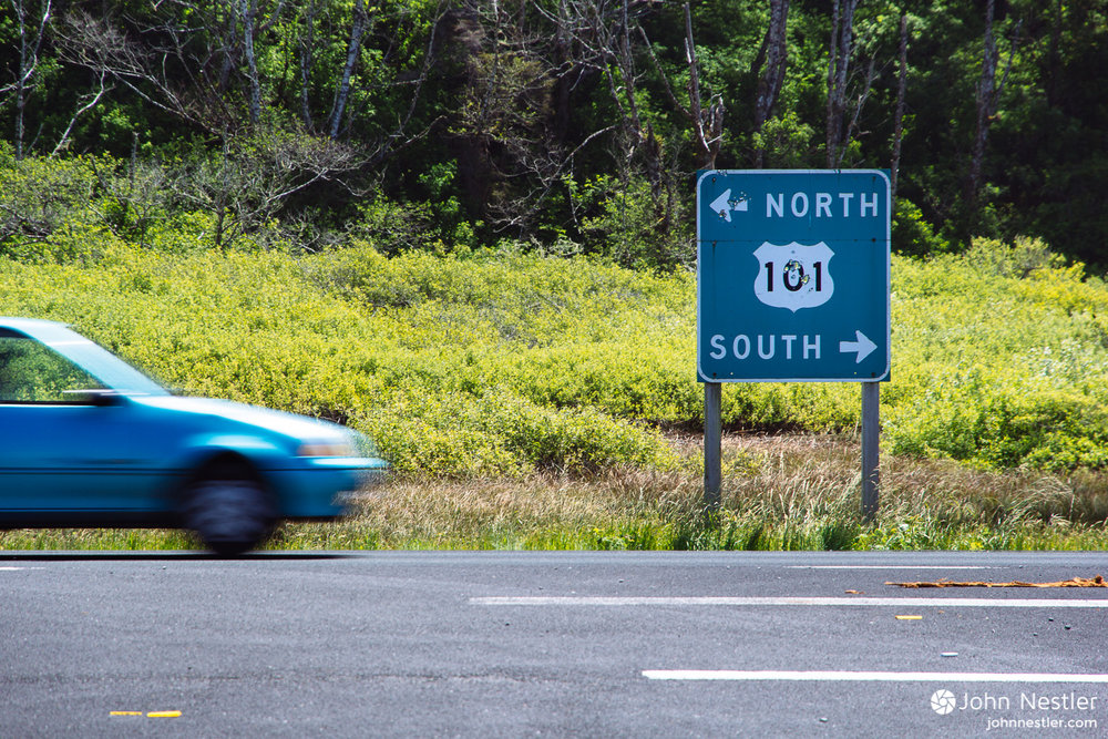 Cruising down Highway 101 in search of scenic coast views.
