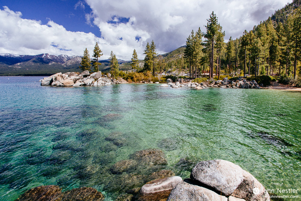 A view of Sand Harbor at Lake Tahoe with afternoon storms rolling in.