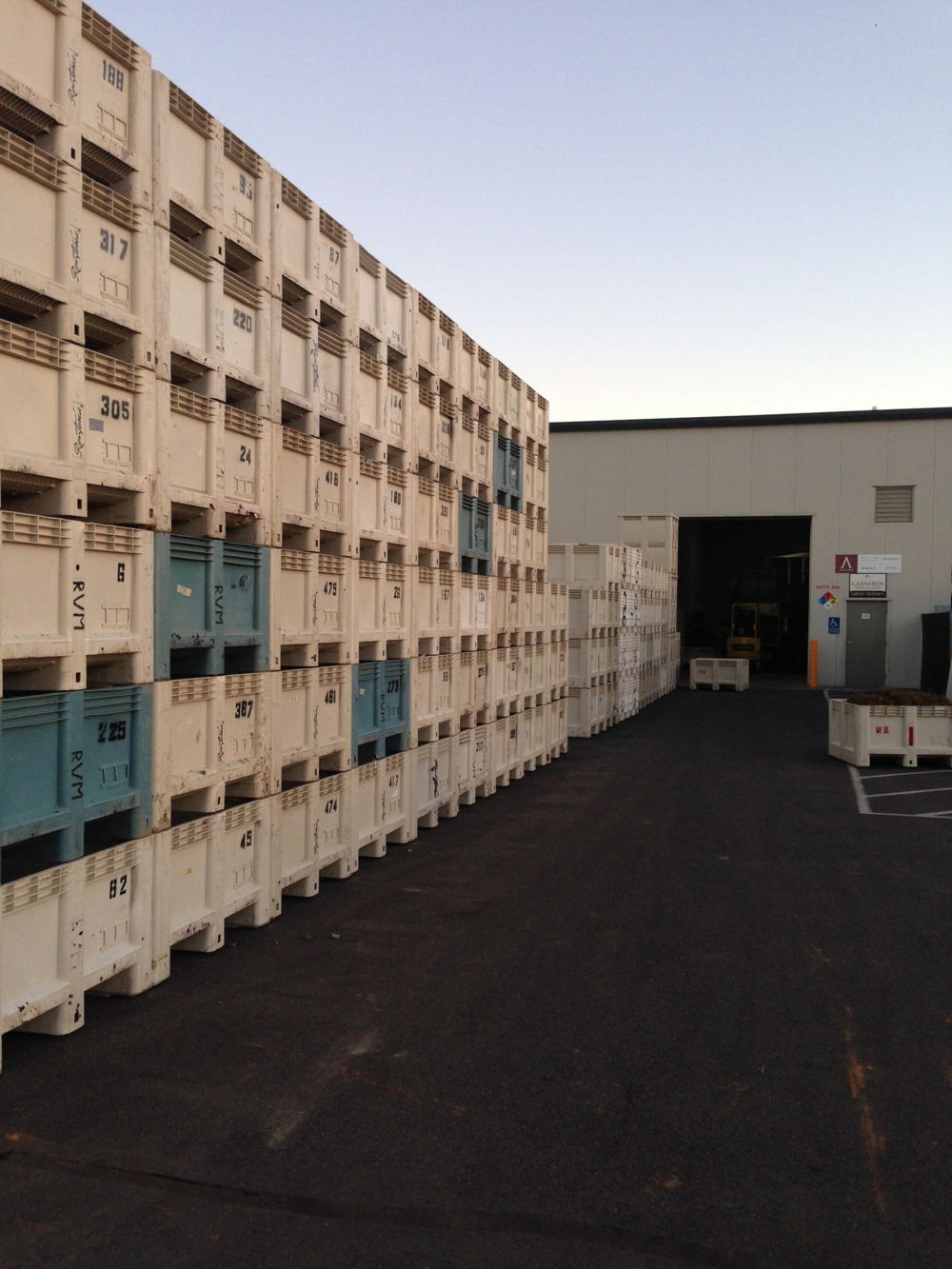 Another one bites the dust! Empty bins outside the facility in Sonoma (Harvest 2015)