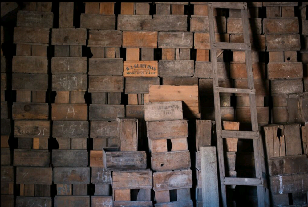 Old fruit boxes stored in a barn on Paderewski Vineyard that we just happened to find upon buying the property; many of them are original boxes from Paderewski's winemaking days!