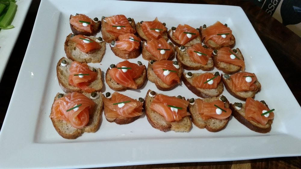 Cured salmon crostinis- Rye, Crème Fraiche, Capers, smoked roe.jpg