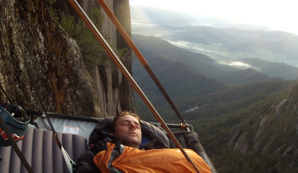 Sleeping soundly hundreds of metres off the ground. Mt Buffalo, Victoria, Australia.