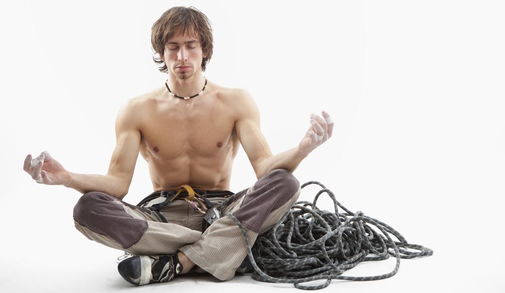 Rock Climber Meditating
