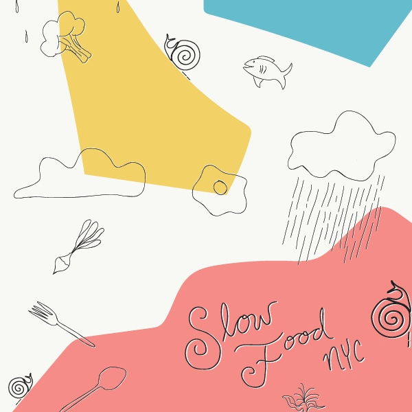 SLOW FOOD NYC - A postcard with a dreamy palette, original illustrations, and clean typography.