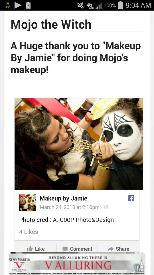 My photo being credited on Channel 95.5 for Makeup By Jamie doing Mojo of Mojo in the Morning's makeup for Halloween. Jamie had yet to update her website, so the photo credit went to my previous brand of A.C00P Photo&Design. 2014.