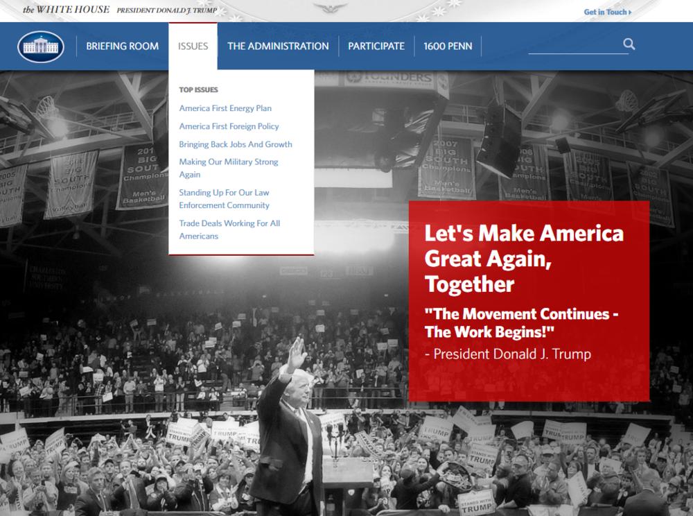 Screenshot of WhiteHouse.gov, 1/20/2017, 2:19 PM