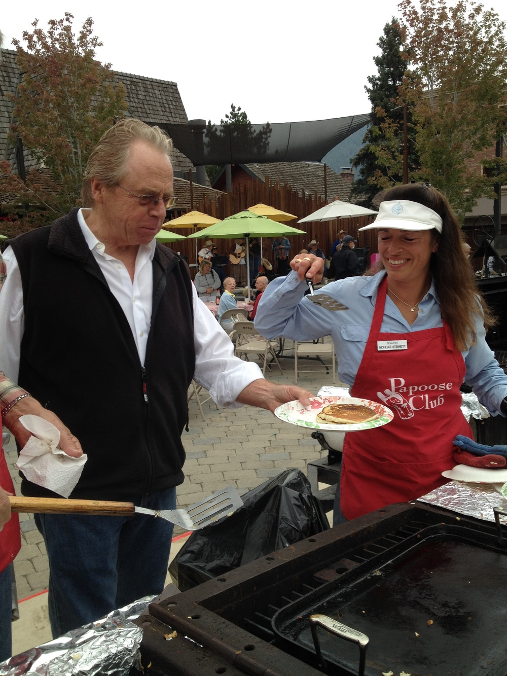 Serving pancake, Papoose Club Wagon Days pancake breakfast