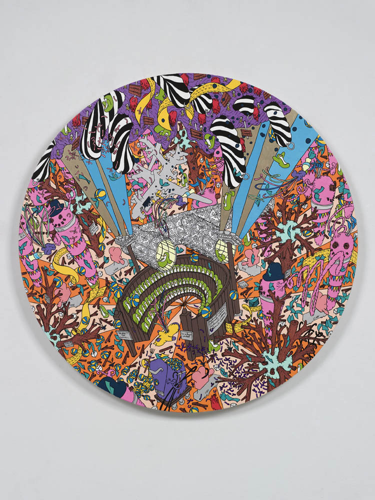 "Les Jeux, oil paint, marker on wood, 24"" diameter, 2010."