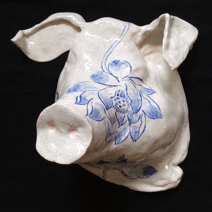 "Ignorance (Pig with Lotus Field), ceramic (glazed cast clay slip), 7""Hx13.5""x11""; 2014."