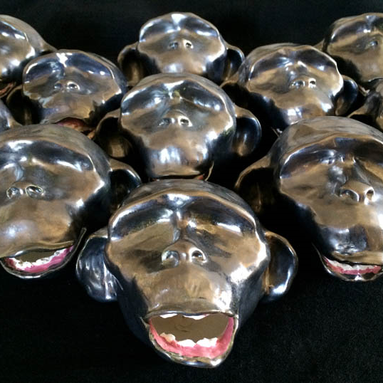"Army of Me (Monkey Mind), ceramic (glazed cast clay slip), each 3.75""Hx5.75""x3.75""; 2013-14."
