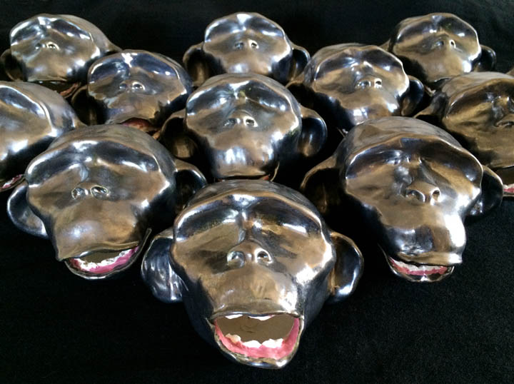 "Katarina Wong :   Monkey Mind (Army of Me) ,  ceramic, each  3.75"" x 5.75"" x 3.75"""