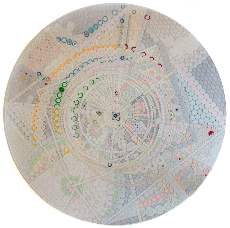 "Fusion Mandala#2, sticker collage on plexiglass, 30"" diameter, 2014"