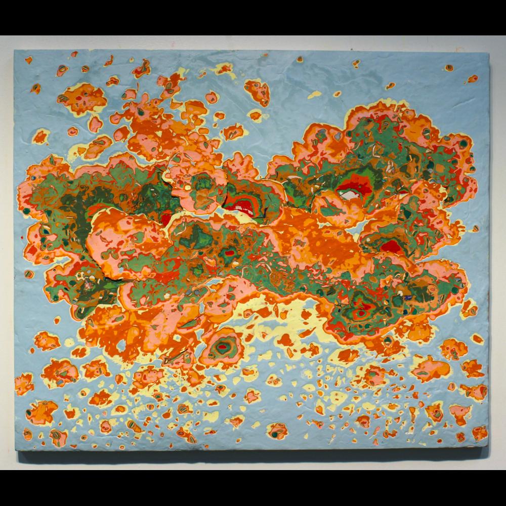 "Landscape in Flight, acrylic on panel, 24""Hx36"", 2013"