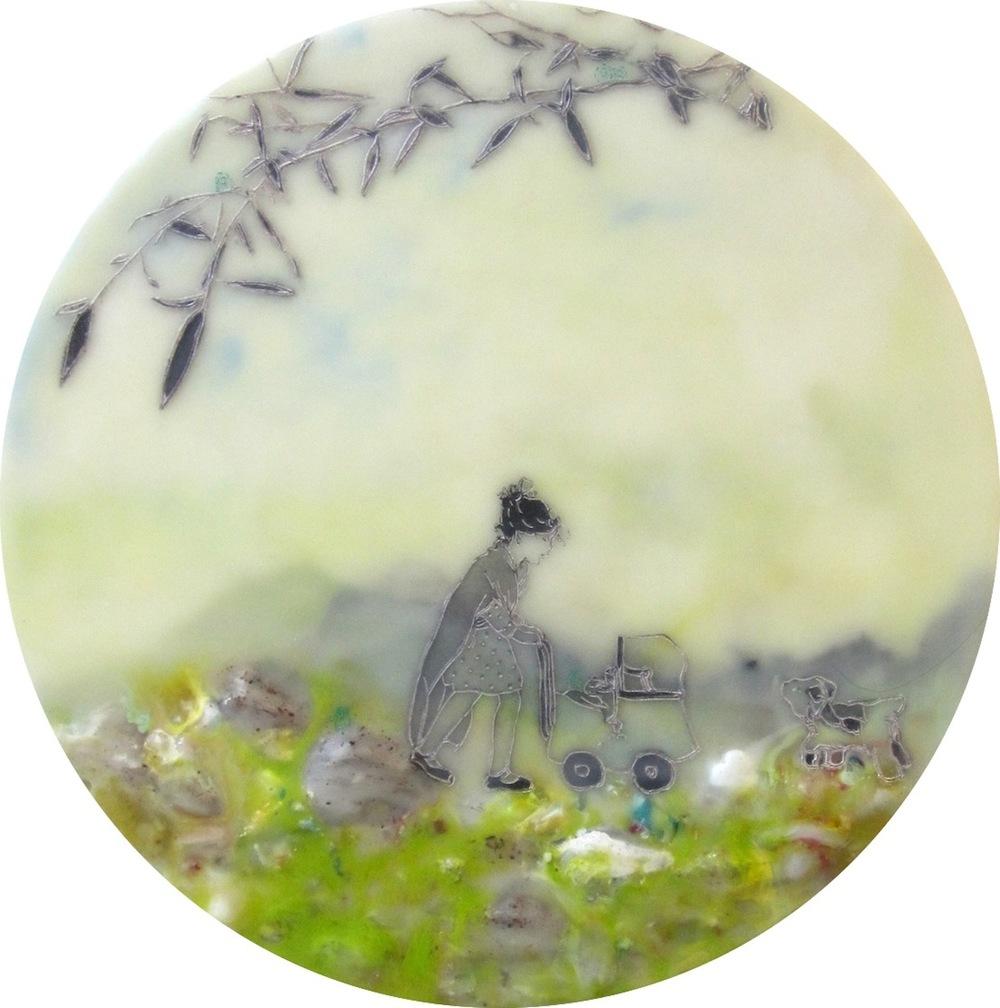 """Pushing Through, encaustic and mixed media on panel, 10"""" diameter, 2014."""