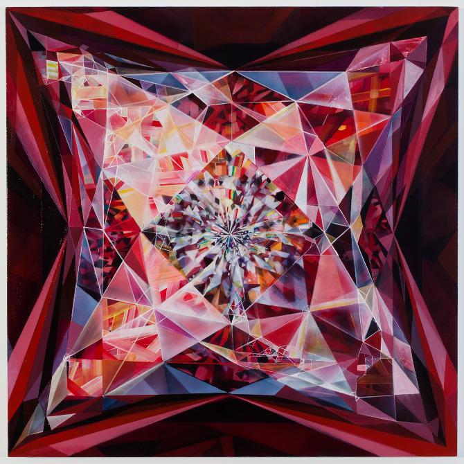 """Ablaze,acrylic on canvas, 36""""x36"""", 2013."""