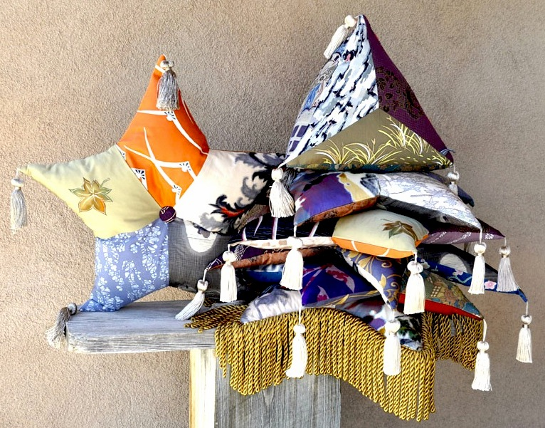 Vintage silk pyramid and star cushions