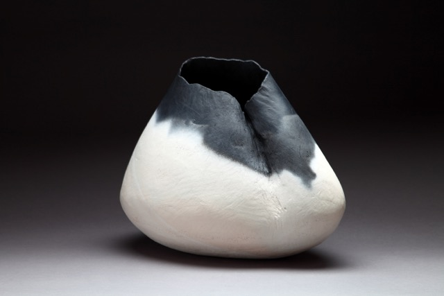 """Creased Vessel,"" saggar fired clay, 13""x15""x7"", 2014"