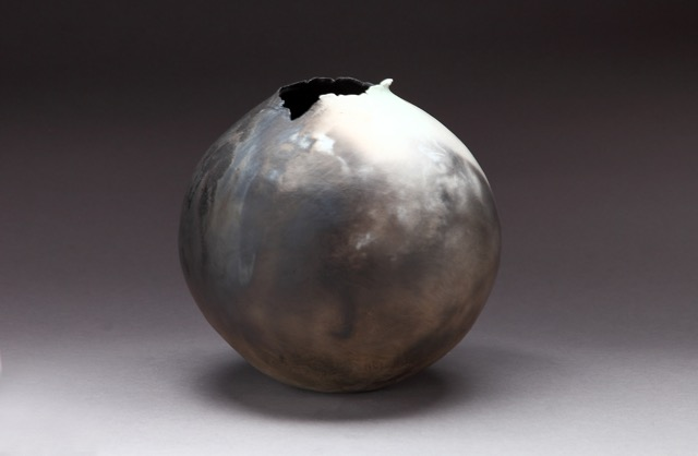 """Sugi Vessel,"" pit fired clay, 8""x8""x8"", 2015"