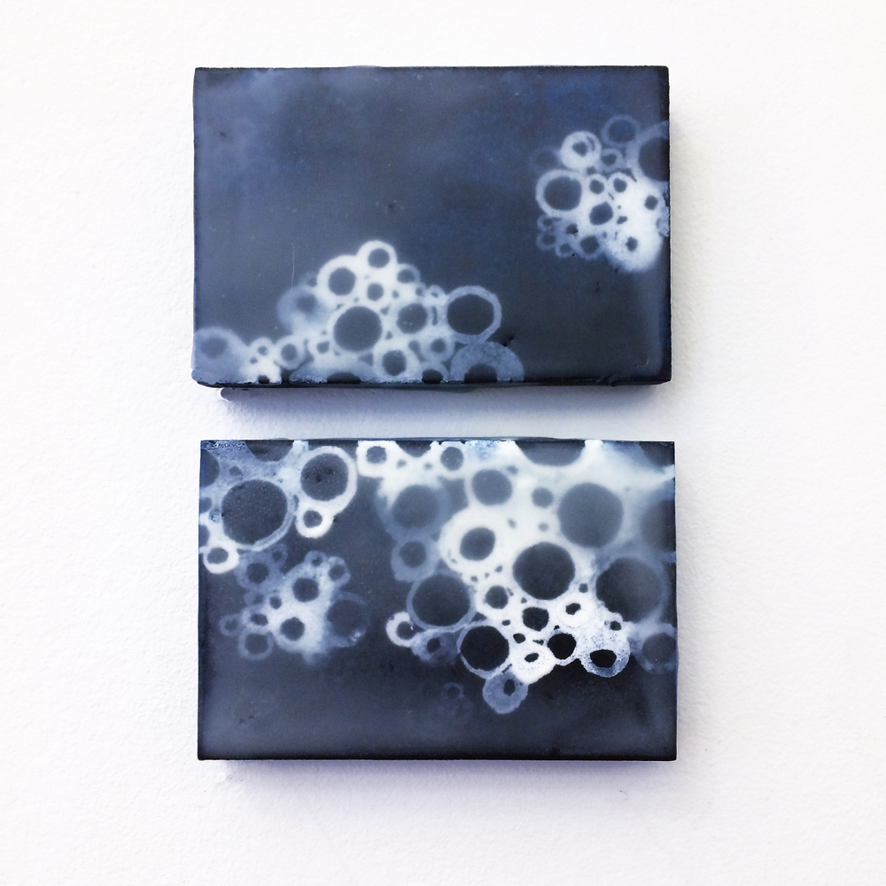 "Dary, Meander series, egg tempera and encaustic on canvas panels, 2""H x 3"" / 5cm H x 7.5cm, 2015"