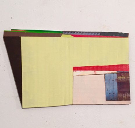 "Janice Caswell,  Construction 14,   a  crylic, ink and collage on cardboard construction, 6"" x 10"", 2015"