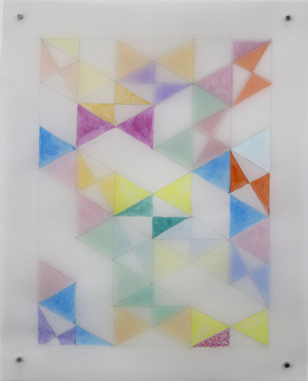 "Alex Paik,  Rearrangeable Drawing - Hexagon (Klint),  gouache and colored pencil on vellum sheets, 10"" x 8"",  2016"