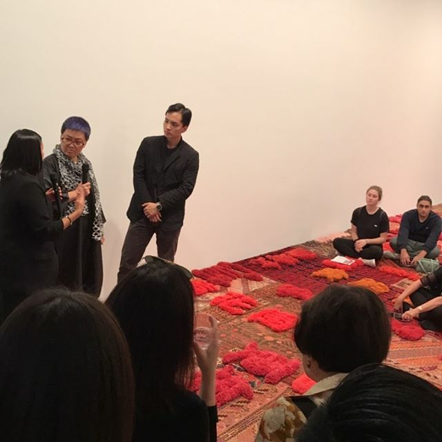 Lin Tianmiao talking about her work at @galerielelong - #art #nyc #chelsea #rug #feminism #conceptart