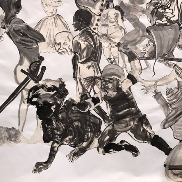Detail from a large-scale Kara Walker #painting #collage at @sikkemajenkins - #art #nyc #chelsea #race #racism