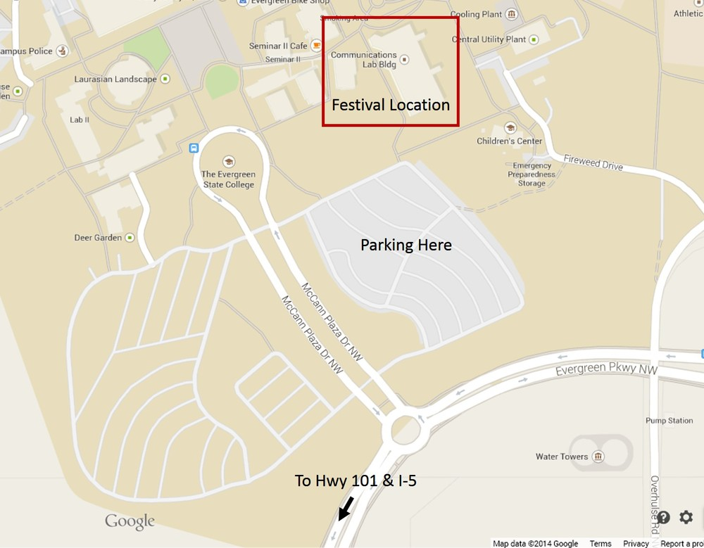 Map showing festival and parking locations -- tesc communications building & parking lot c