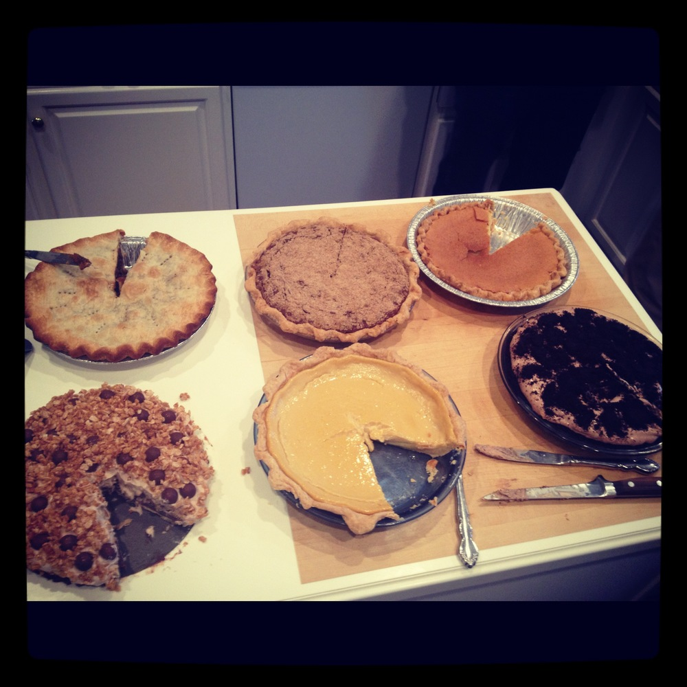 Thanksgiving 2012: 6 pies for 10 people. That's normal, right?