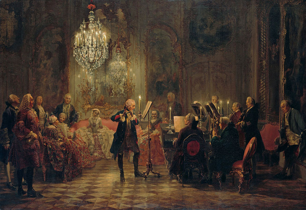 In this rather famous Adolph Menzel painting of Frederick II's court, Quantz is the character glowering in the right corner. One wonders if Frederick (playing the flute) was disappointing Quantz with an insufficient personality.
