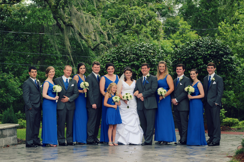 Group wedding photograph of bridal party at First Presbyterian Church in Ocean Springs, Mississippi