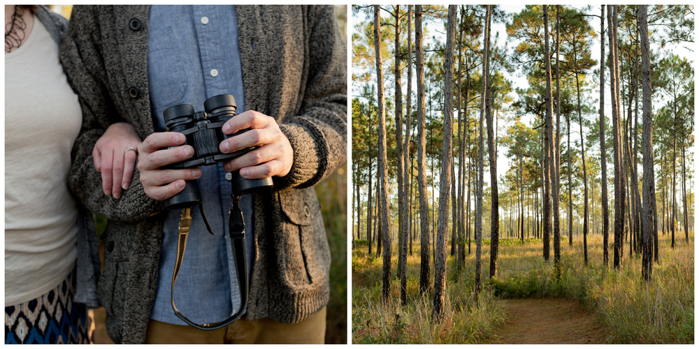 couple in woods with binoculars (Uninvented Colors Photography)