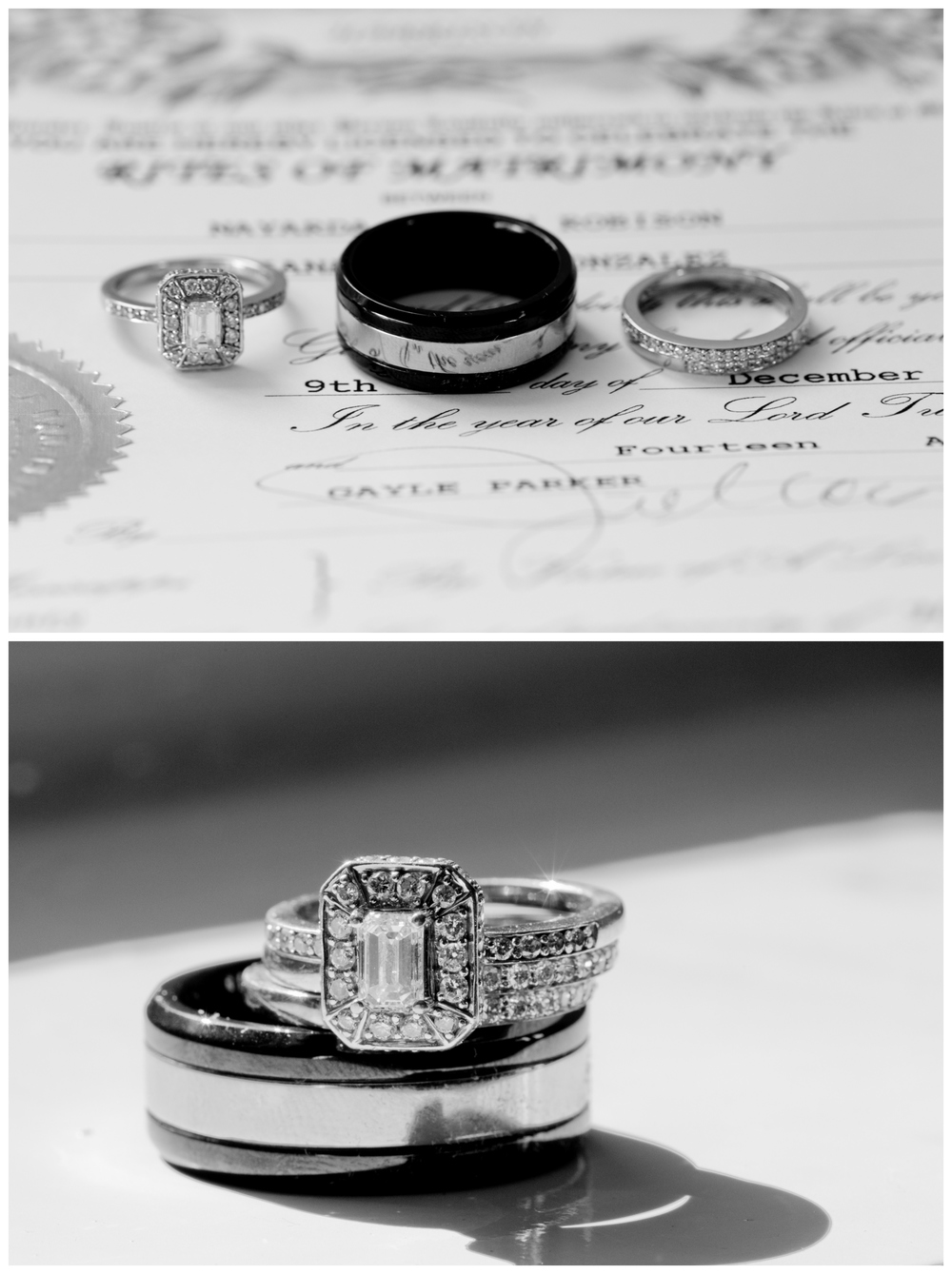 diamond wedding rings with marriage license by Uninvented Colors Photography (Gulf Coast wedding photographer)