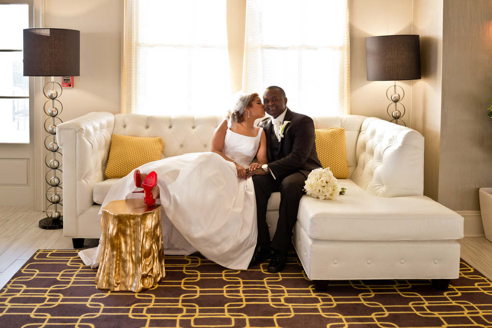 Classy bride and groom wedding portrait at White House Hotel Biloxi